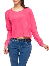 Solid Pink Cotton Full Sleeves Top - By