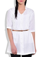 White Cotton Top With Brown Sleek Belt - By