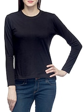 Black Round Neck Full Sleeved T-shirt - By