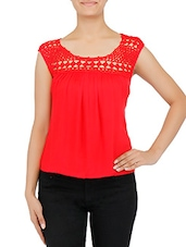 Red Rayon Top - By