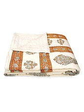 Beige Block Printed Cotton Double Bed Quilt - By