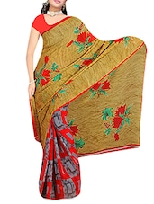 Brown And Red Floral Printed Georgette Saree - By