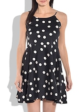 Black And White Polka Spaghetti Dress - By