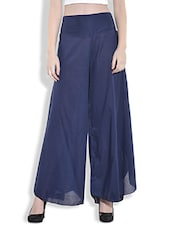 Blue Cotton Flared Palazzo Pants - By