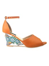 Orange Faux Leather Sandals With Floral Printed Wedges - By