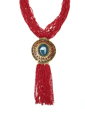 Red Multi Beaded Tassel Drop Necklace - By