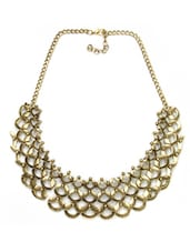 Gold And Silver Beaded Statement Necklace - By