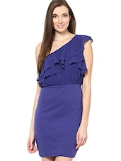 Navy Blue One-shoulder Ruffle Dress - By