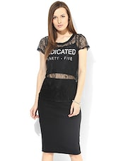 Sheer Black Lace-worked Top - By