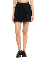 Solid Black Laced Gathered Mini Skirt - By
