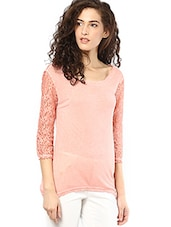 Coral Round Neck Viscose Top - By