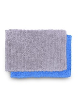 Set Of 2 Blue And Grey Rectangular Ribbed Cotton Doormats - By