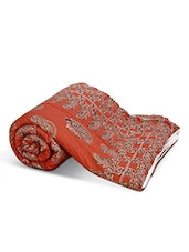Rust Paisley Printed Cotton Double Bed Quilt - By