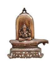 Metal  Wall Hanging Of Lord Ganesha With Shivling Showpiece - By