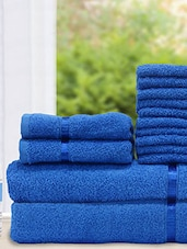Set Of 14 Solid Blue Cotton Towels - By