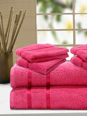 Set Of 6 Solid Pink Cotton Towels - By