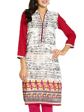 Off-white & Pink Printed Georgette  Kurti - By