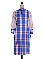 Blue Checkered And Floral Printed Sleeved Kurta - By