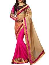 Beige Embroidered Half And Half Saree - By