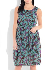 Blue Printed Poly Georgette Gathered Dress - By