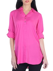 Pink Collared Cotton Shirt - By
