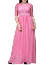 Pink Laced Yoke Chiffon Gathered Dress - By