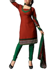Maroon Crepe Unstitched Dress Material - By