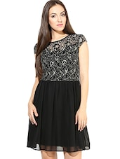 Black Floral Laced Yoke Fit And Flare Dress - By
