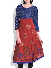 Blue & Red Rayon Printed Kurta - By