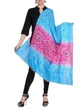Pink & Blue Cotton Bandhej Bandhini Mirror Work Duaptta - By