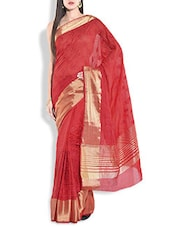 Red Silk Saree With Gold Border - By