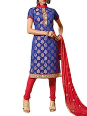 Blue Embroidered Un-stitched  Dress Material - By