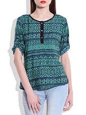 Green And Blue Printed Top - By