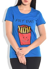 Blue Printed Knitted Cotton T-shirt - By