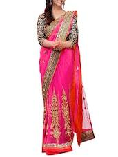 Pink Net Saree - By