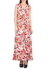 Red, White Polyester Crepe Dress - By