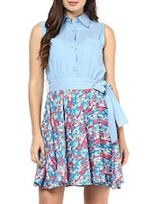 Sky Blue Cotton Printed Collar Neck Dress - By