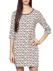 Off White Spectacles Printed Round Neck Dress - By