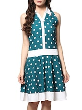 Blue And White Polka Dots Printed Buttoned Dress - By