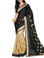 Black Satin Embroidered Saree - By