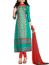 Dark Green Cotton  Embroidered Dress Material - By