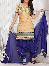 Beige Cotton Unstitched Dress Material - By