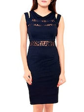Lace Panel Navy Blue Crepe Dress - By