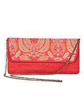 Coral And Gold Brocade Silk Clutch - By