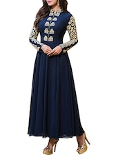 Navy Blue Georgette Dress Material - By