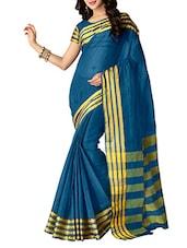 Blue Cotton Silk Saree - By
