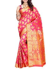 Pink Mimosa Women Kanchipuram Art Silk Saree With Handwork Blouse (Pink ,3163-K-1-PINK) Saree - By