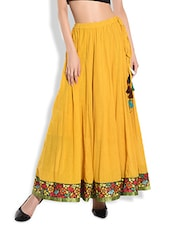 Mustard Cotton Flared Maxi Skirt With Floral Border - By