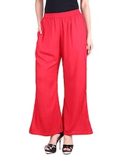 Solid Red Rayon Palazzos - By
