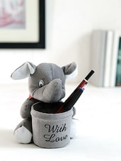 Grey Fur Soft Toy Pen Stand - By